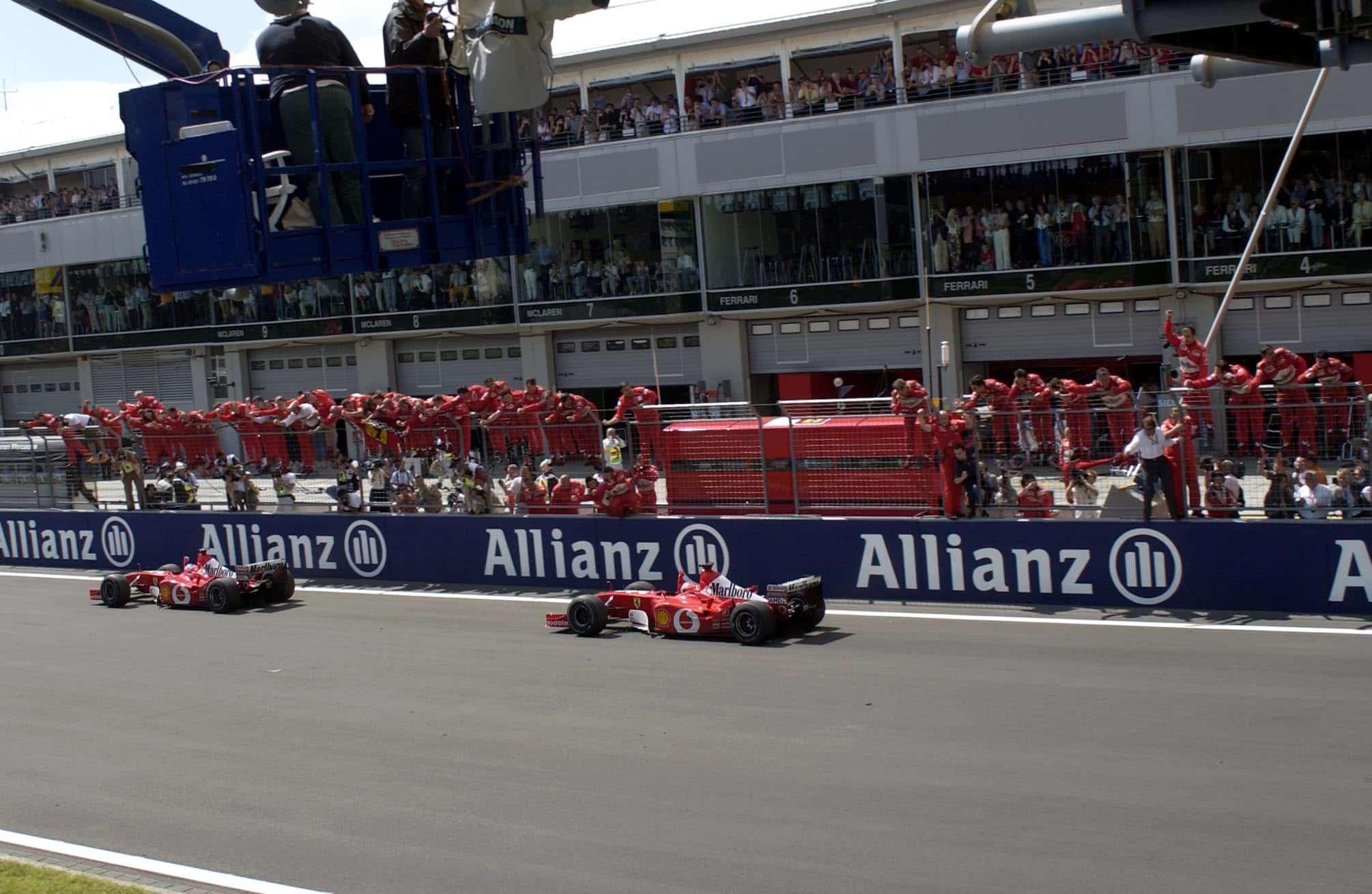Michael Schumacher and Rubens Barrichello Ferrari F2002 European GP F1 2002 Nurburgring Photo Ferrari