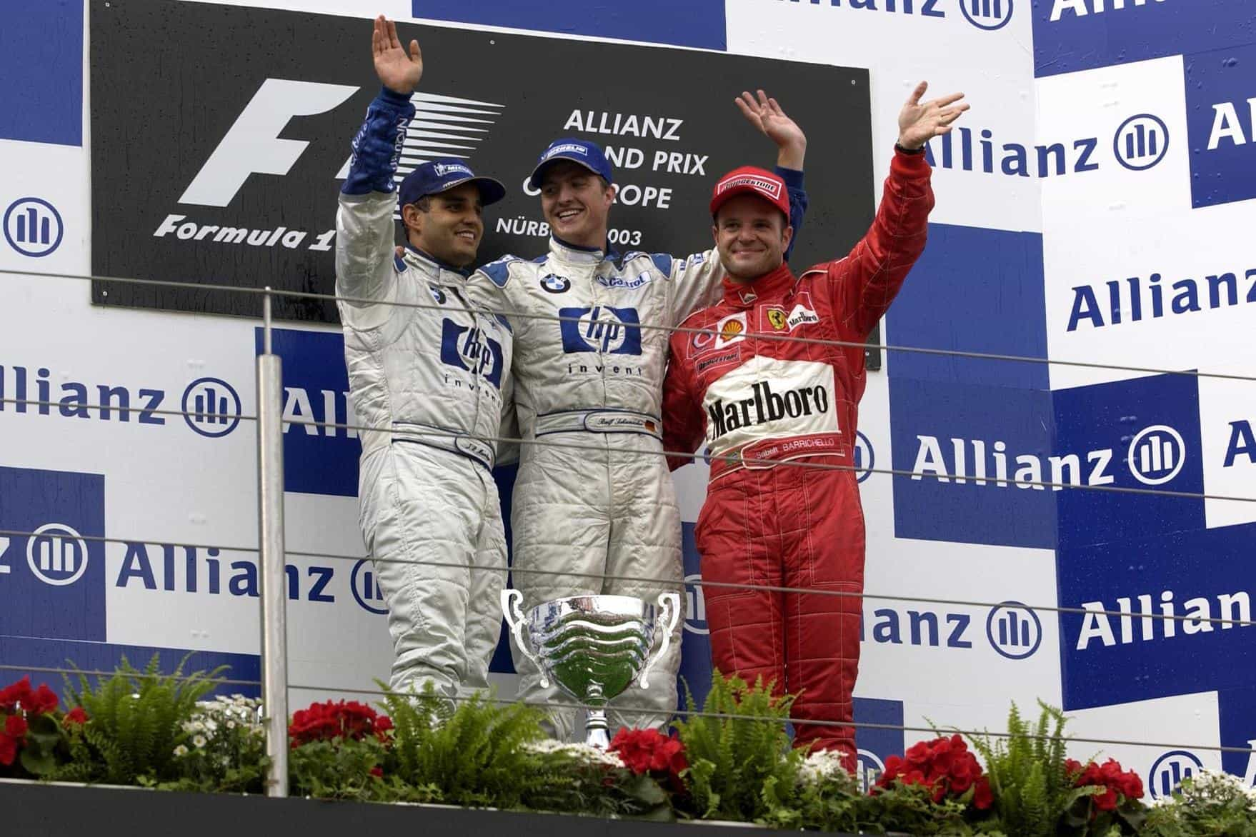 Nurburgring F1 2003 European GP podium Ralf Schumacher Montoya Barrichello Photo Ferrari
