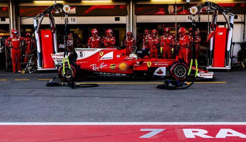 Sebastian Vettel Ferrari Azerbaijan GP Baku F1 2017 stop and go 10 sec Photo Ferrari