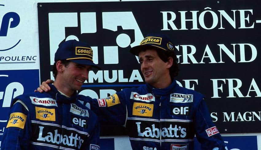 Alain Prost Damon Hill Williams French GP F1 1993 podium Photo Williams