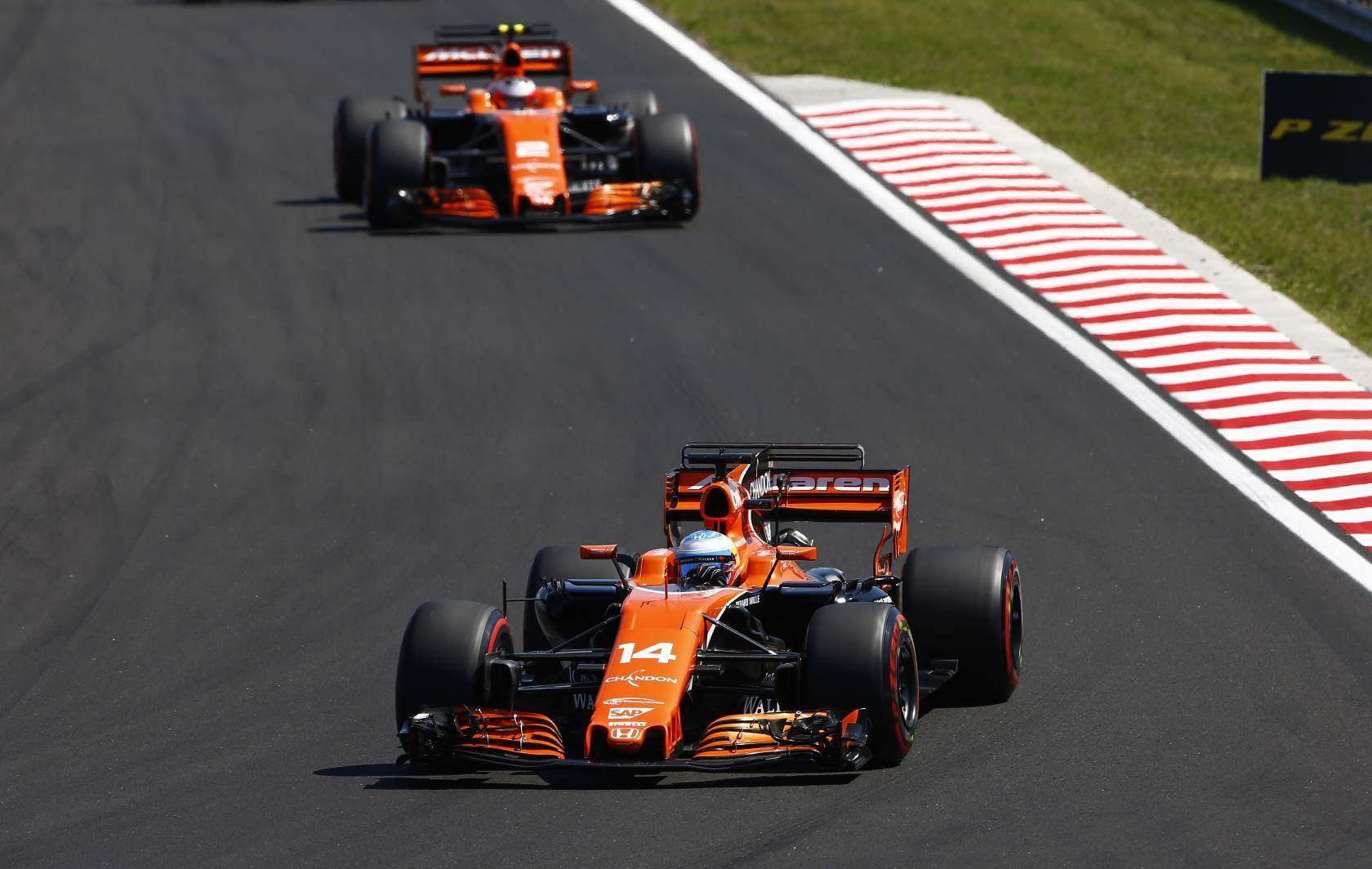 Alonso leads Vandoorne McLaren Honda Hungarian GP F1 2017 Photo McLaren
