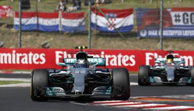 Bottas leads Hamilton Hungarian GP F1 2017 Croatian flag Photo Daimler