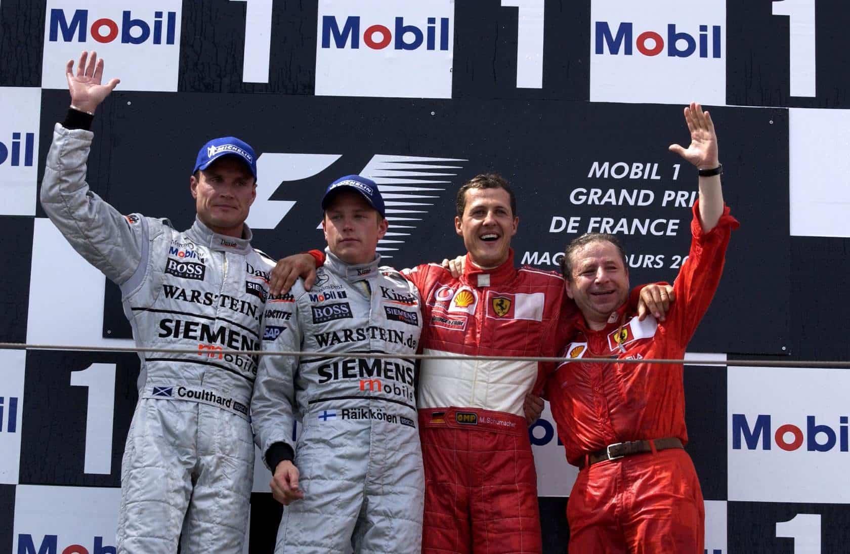French GP F1 2002 podium Schumacher Raikkonen Coulthard Photo Ferrari