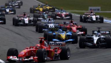 German-GP-F1-2004-start-Schumacher-leads-1st-corner-Photo-Ferrari
