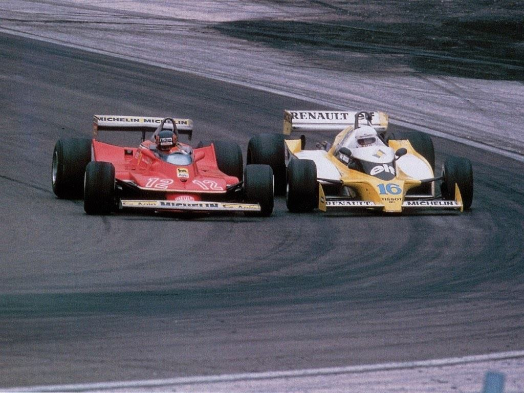 Gilles Villeneuve Ferrari Rene Arnoux Renault French GP F1 1979 Dijon Photo Renault
