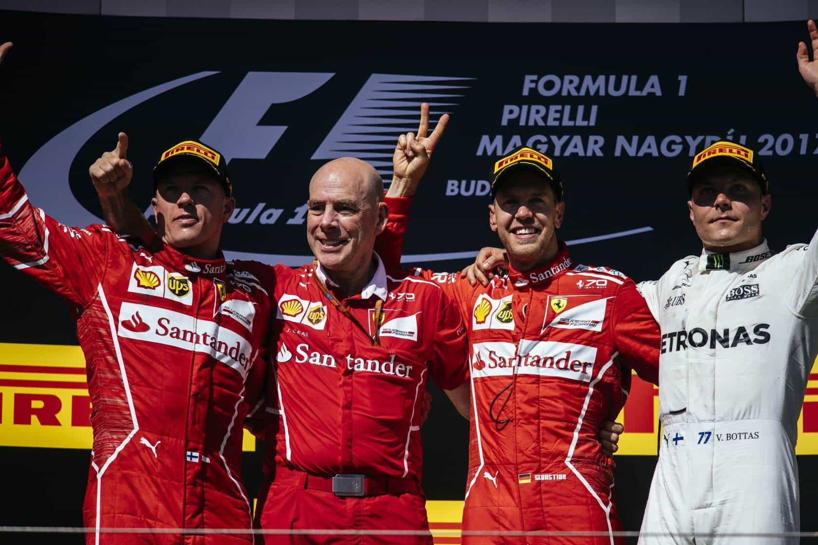 Hungarian GP F1 2017 podium close Photo Ferrari