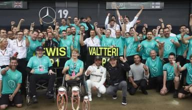 Mercedes Britiah GP F1 2017 post race celebration Photo Daimler