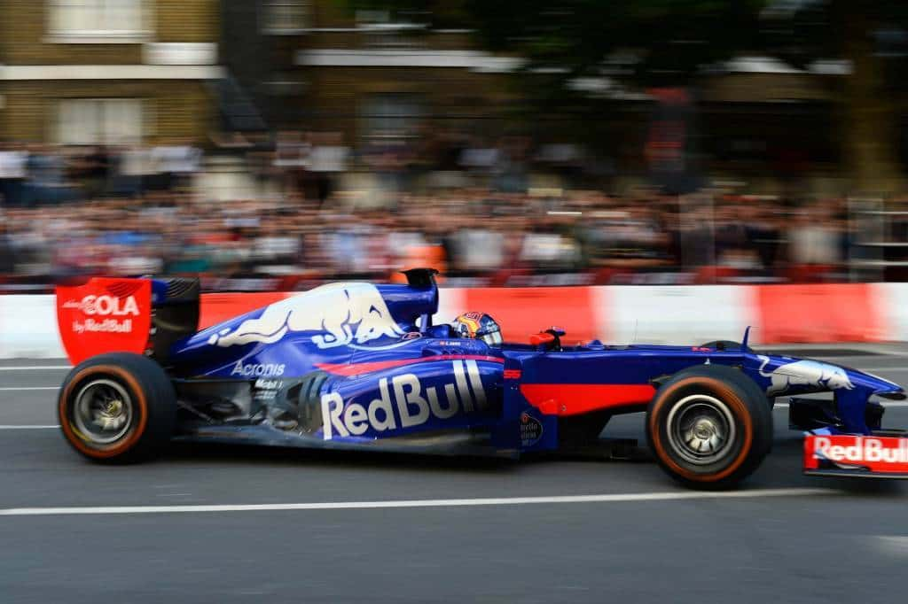 Red Bull RB7 side in Toro Rosso 2017 paint London F1 show 2017 Photo Red Bull