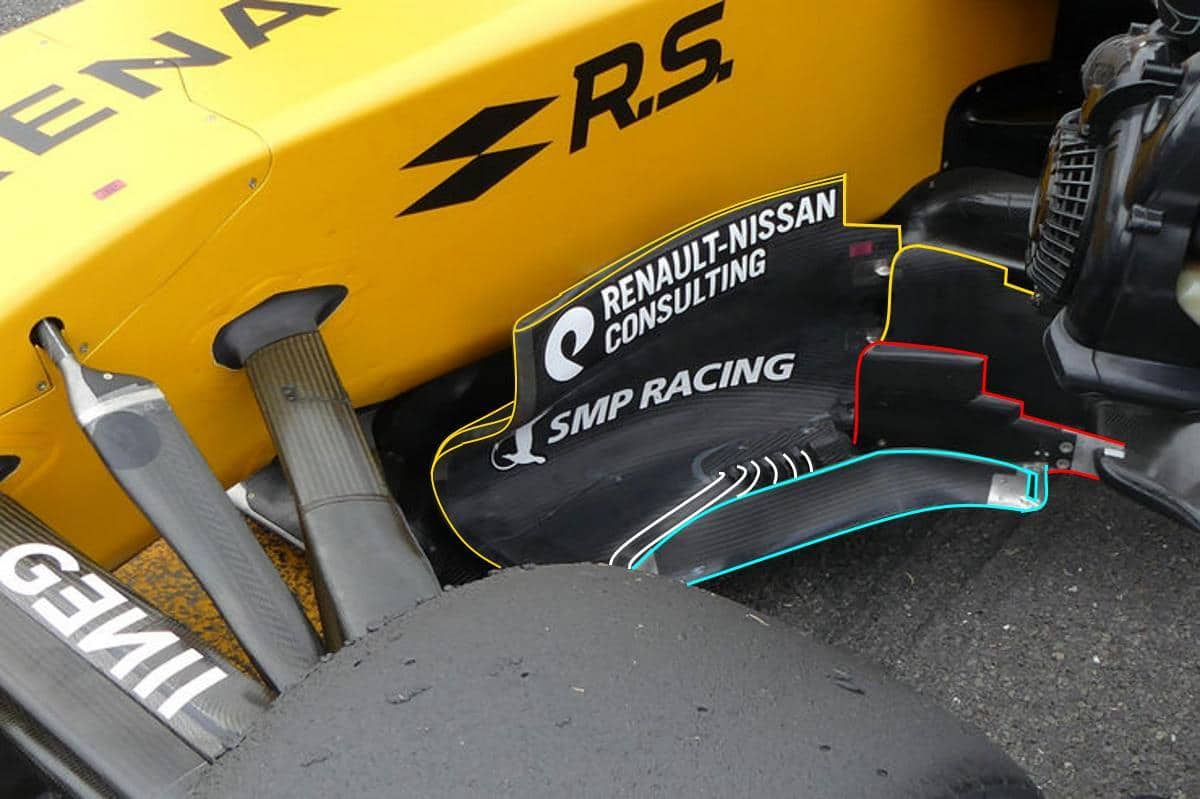 Renault RS17 2017 British GP F1 tech updates bargeboards top Photo AMuS MAXF1net