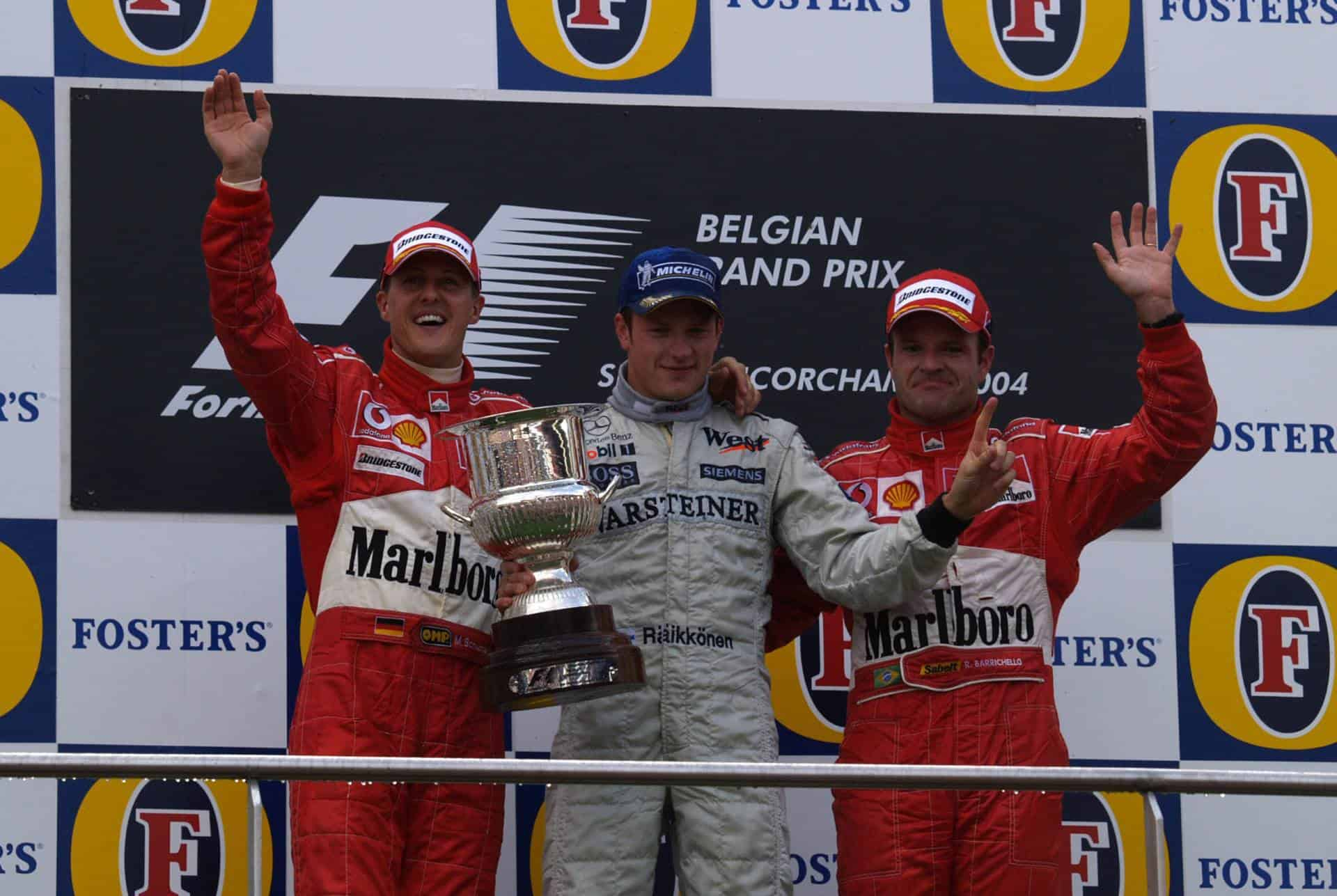Belgian-GP-F1-2004-podium-Raikkonen-Schumacher-Barrichello-Photo-Ferrari