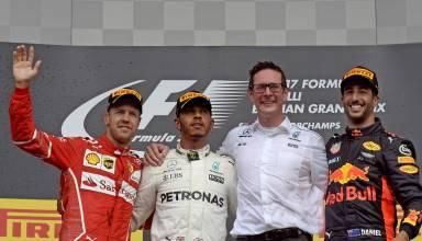 Belgian GP F1 2017 podium Photo Ferrari