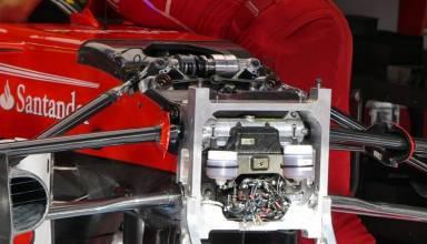 Ferrari SF70H front suspension third spring damper Belgian GP F1 2017 Photo AMuS
