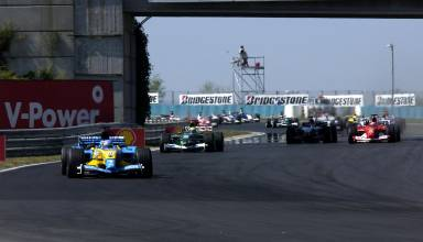 Hungarian GP F1 2003 start second corner Photo Ferrari