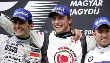 Hungarian GP F1 2006 podium Button de la Rosa Heidfeld Photo Honda Racing