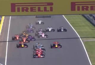 Hungarian GP F1 2017 start screenshot Youtube