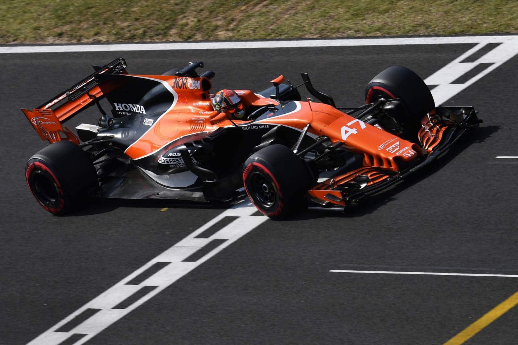 Lando Norriss McLaren Hungary F1 2017 test finish line Photo McLaren