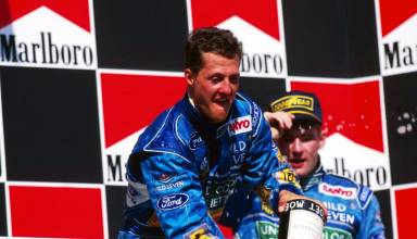 Michael Schumacher Hungarian GP F1 1994 Benetton B194 on podium with Jos Verstappen Photo Ford-F1