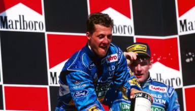 Michael Schumacher Hungarian GP F1 1994 Benetton B194 on podium with Jos Verstappen Photo Ford-F1