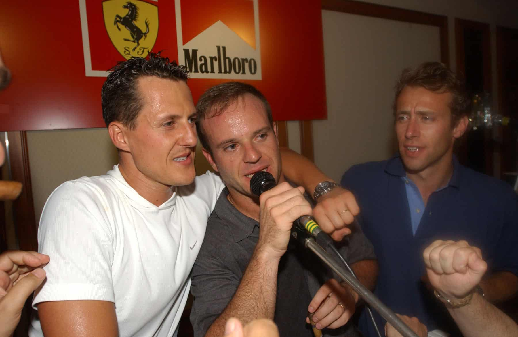 Michael Schumacher Rubens Barrichello Luca di Montezemolo Ferrari Hungarian GP F1 2001 Photo Ferrari