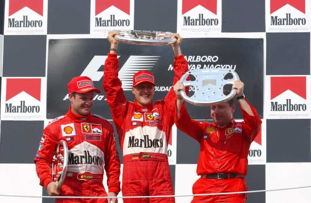 Michael Schumacher Rubens Barrichello podium Ferrari F2001 Hungarian GP F1 2001 Photo Ferrari