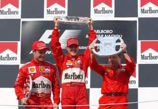 Michael Schumacher Rubens Barrichello podium Ferrari F2001 Hungarian GP F1 2001 Photo Ferrari