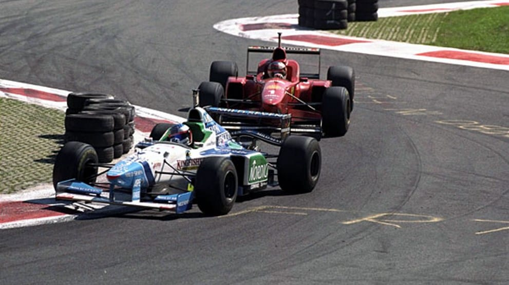 Alesi leads Schumacher Italian GP F1 1996 Photo BBC