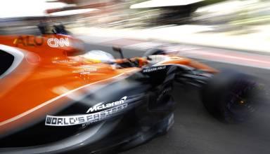 Alonso Belgian GP F1 2017 Photo McLaren pit exit blur