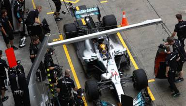 Hamilton Mercedes Malaysian GP F1 2017 above top shot pitlane Photo Daimler