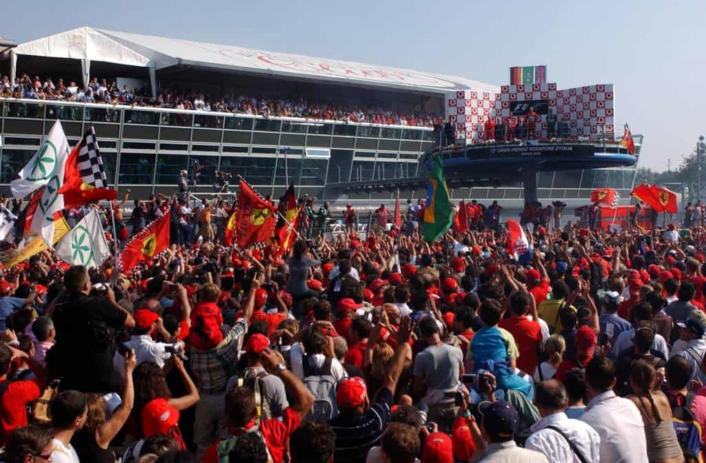 Italian GP F1 2002 Monza after race tifosi Photo Ferrari