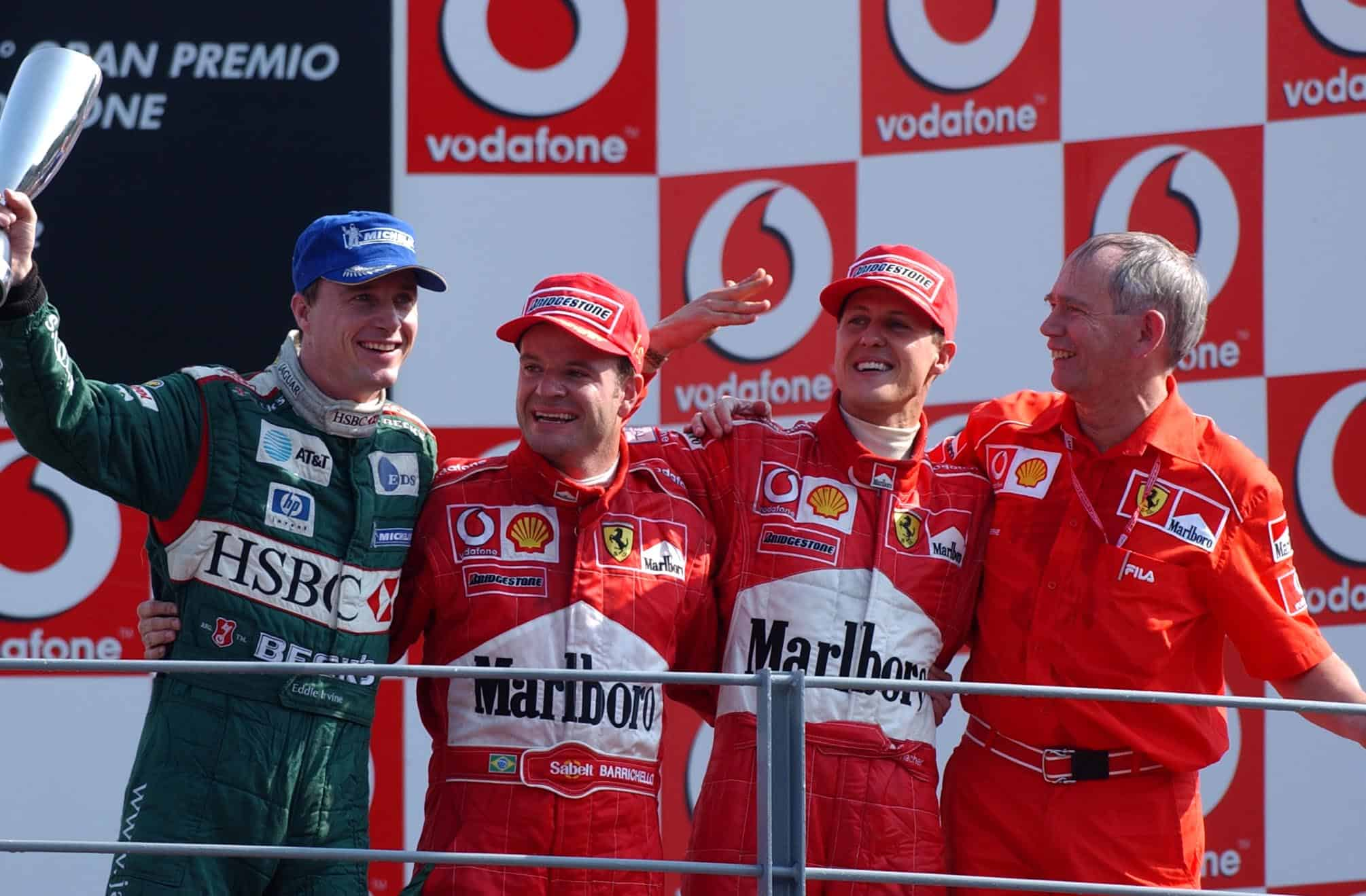 Italian GP F1 2002 Monza podium Photo Ferrari