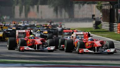 Italian GP F1 2010 Monza start second chicane Photo Ferrari