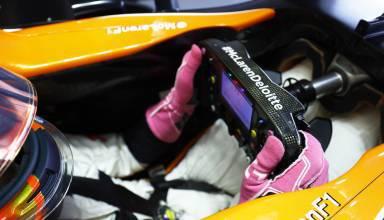Alonso McLaren Honda MCL32 steering wheel USA GP Austin F1 2017 pink gloves Photo McLaren