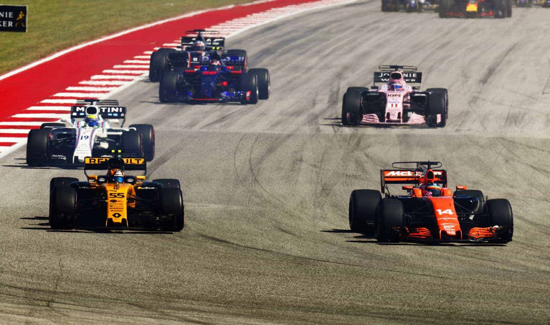 Alonso battles Sainz USA GP F1 2017 Austin Photo McLaren