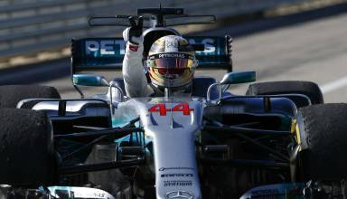 Hamilton Austin F1 USA GP 2017 celebrates in car Photo Daimler