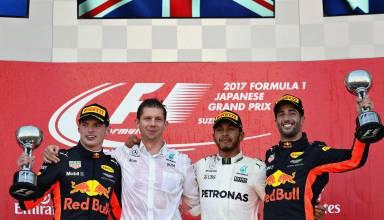 Hamilton Ricciardo Verstappen Japanese GP F1 2017 podium Photo Red Bull