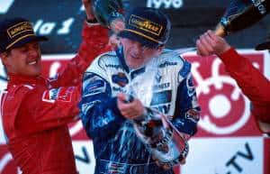 Hill Japanese GP 1996 Suzuka podium champagne Photo Williams