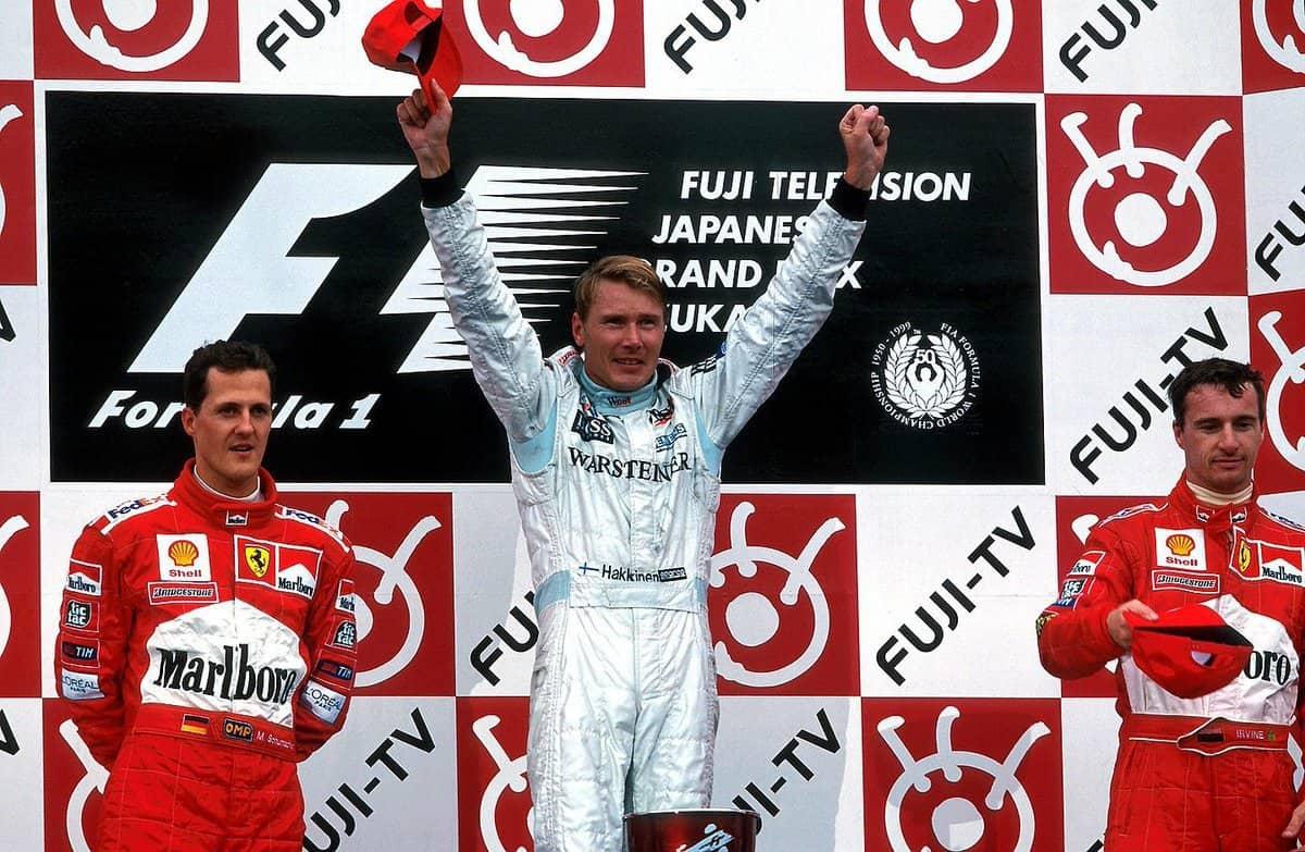 Japanese GP F1 1999 podium Hakkinen Schumacher Irvine
