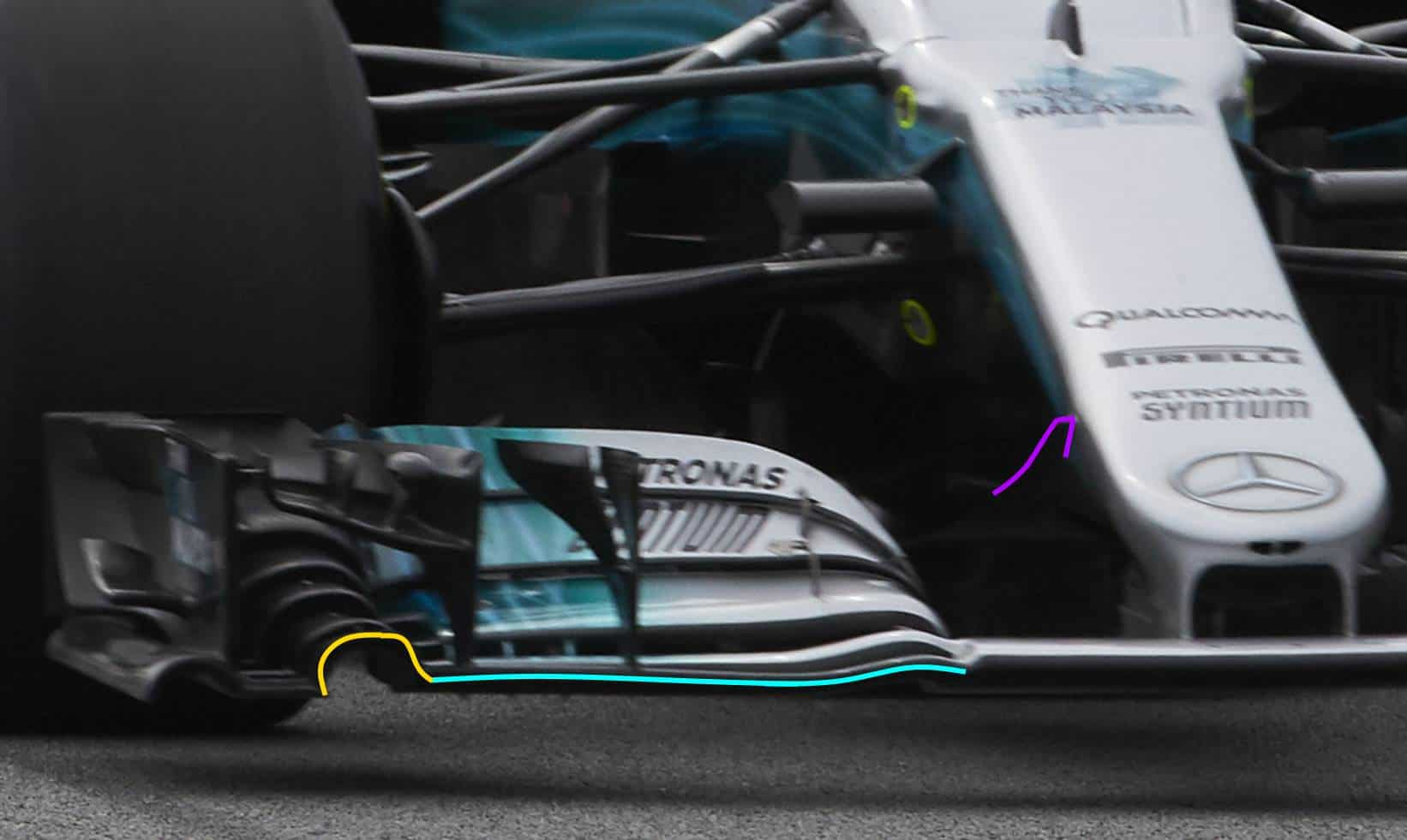Mercedes W08 front wing old