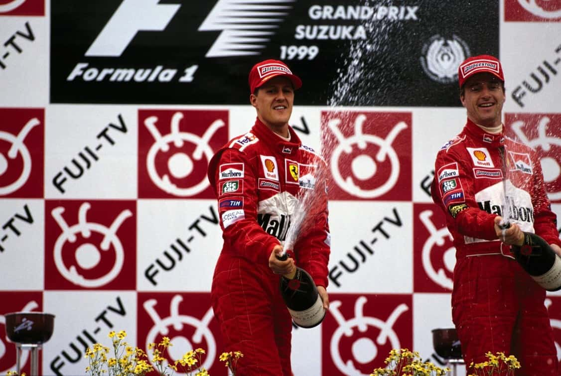 Schumacher Irvine Japanese GP Suzuka F1 1999 podium Photo Ferrari