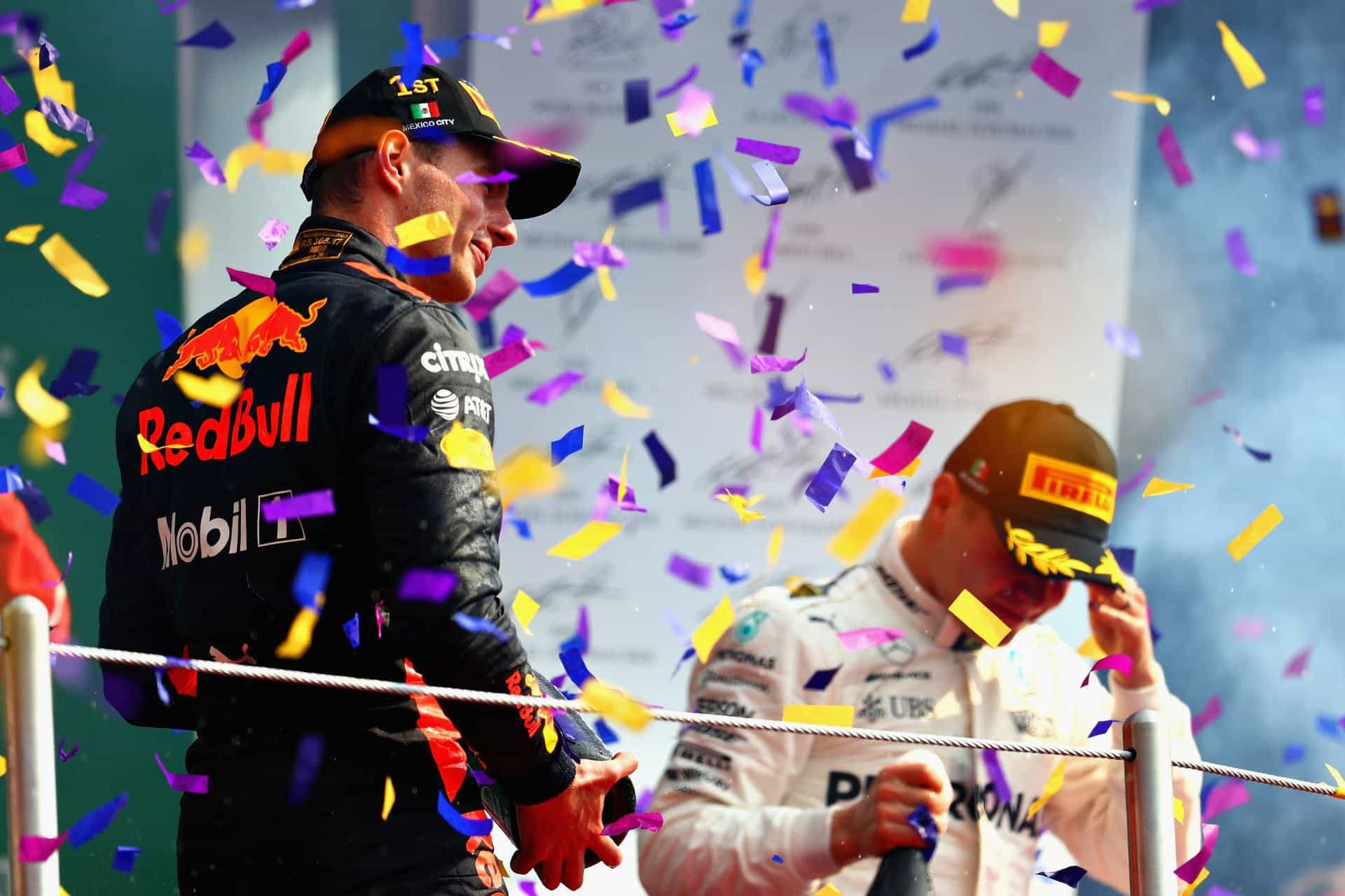 Verstappen Bottas Mexican GP F1 2017 podium Photo Red Bull