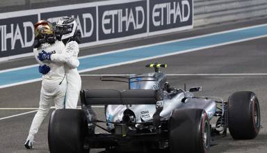 Bottas Hamilton Mercedes F1 2017 Abu Dhabi post race hug Photo Daimler