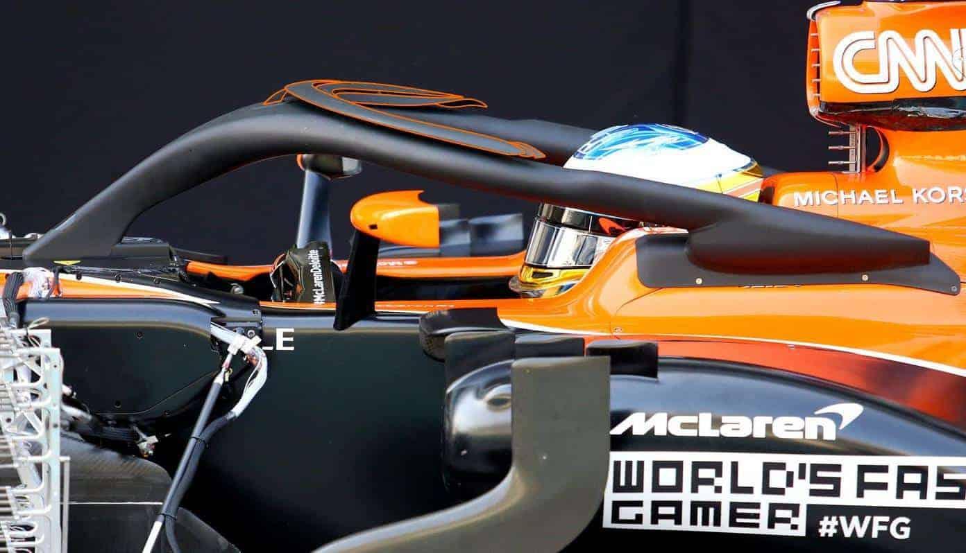 Fernando Alonso McLaren MCL32 Abu Dhabi F1 2017 test halo aero halo side zoom