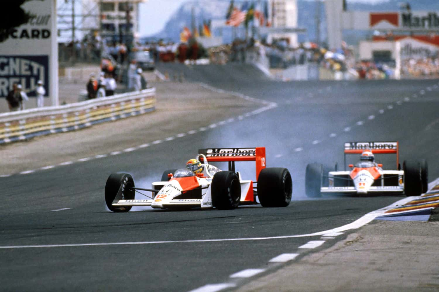 Ayrton Senna leads Alain Prost French GP F1 1988 Paul Ricard Photo F1world