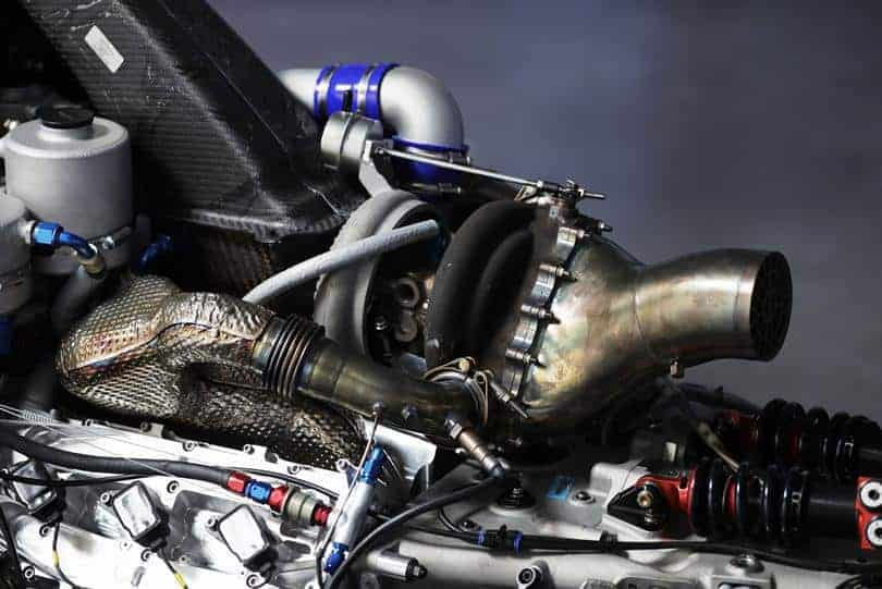 FIA Formula 2 car engine uncovered turbo exhaust