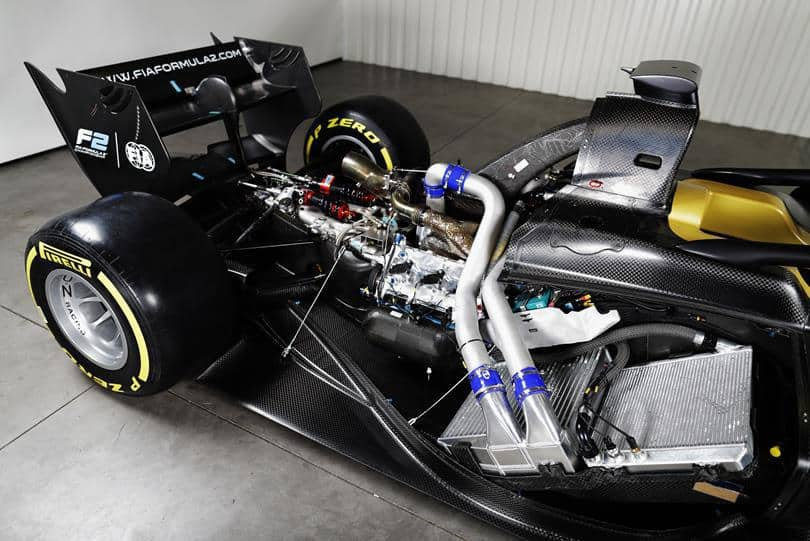 FIA Formula 2 car engine uncovered
