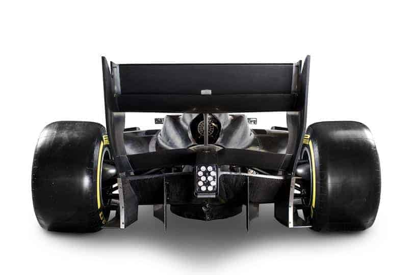 FIA Formula 2 car rear end diffuser shot