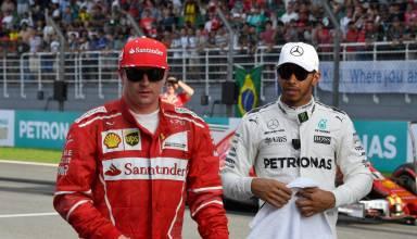 Hamilton Raikkonen F1 2017 on the grid