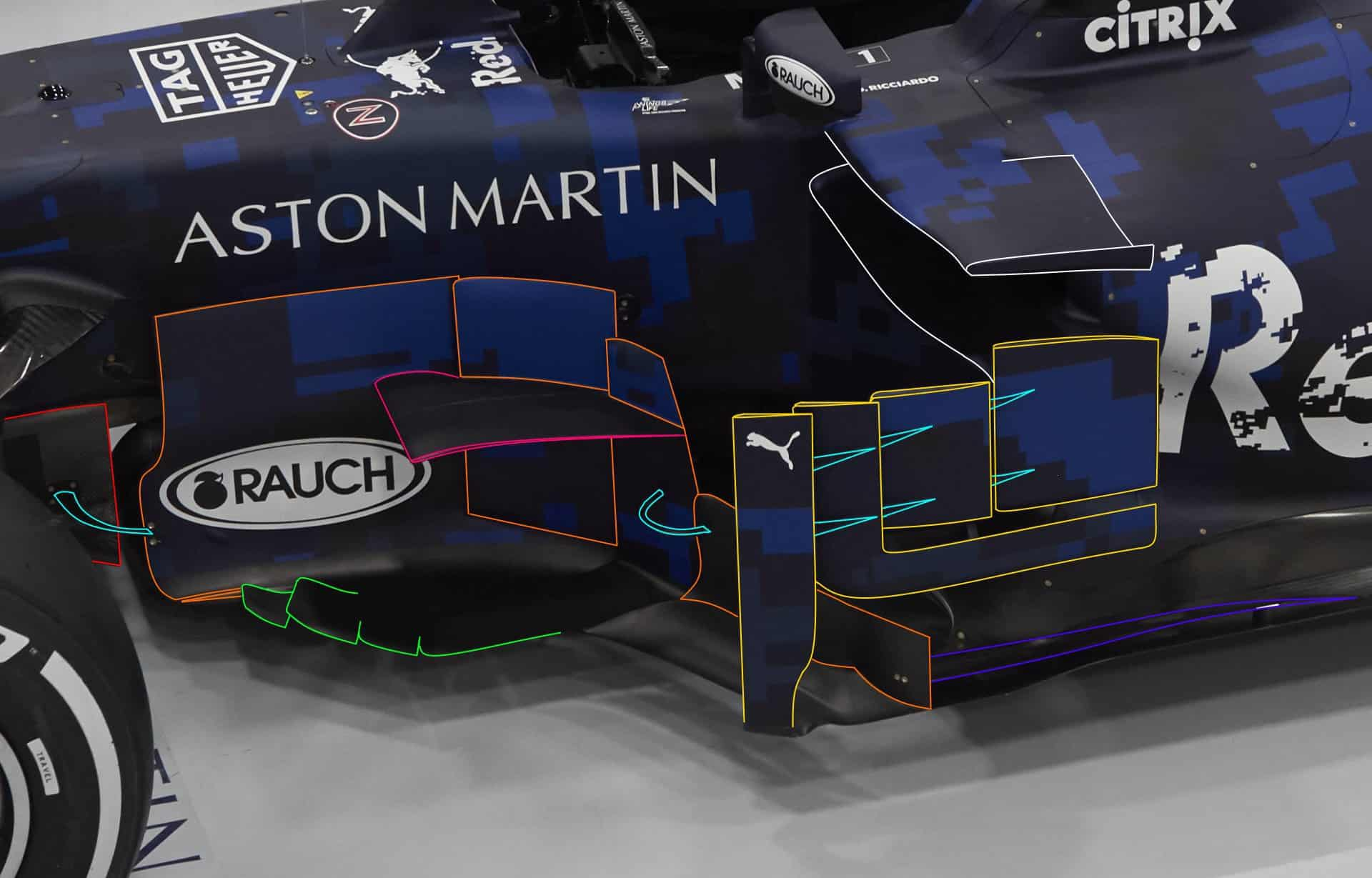 Aston Martin Red Bull RB14 technical analysis MAXF1net