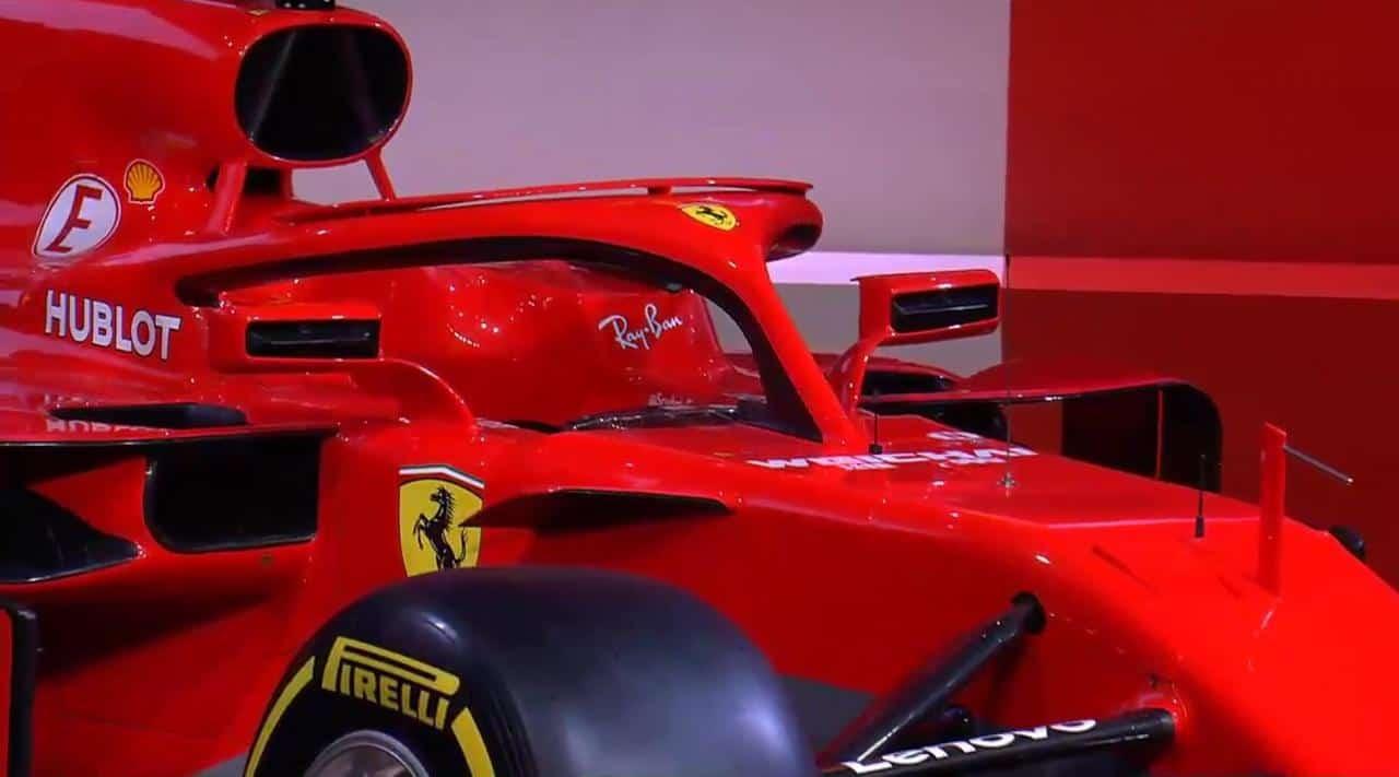 New Ferrari SF71H F1 2018 launch halo close