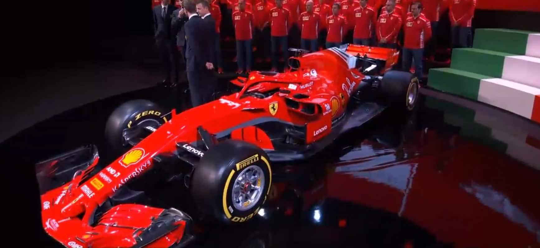 New Ferrari SF71H F1 2018 launch side